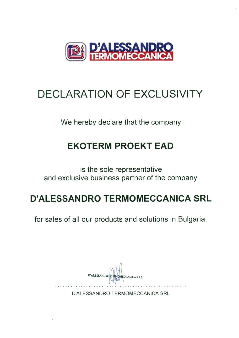 D Alessandro Termomeccanica Сертификат