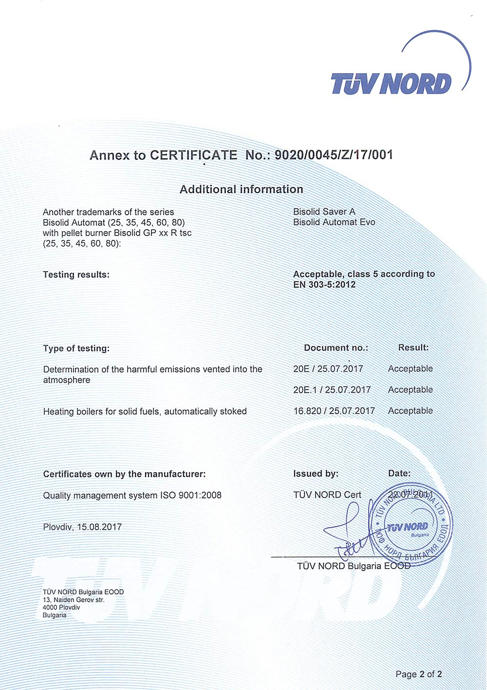 TUV Сертификат Bisolid AUTOMAT